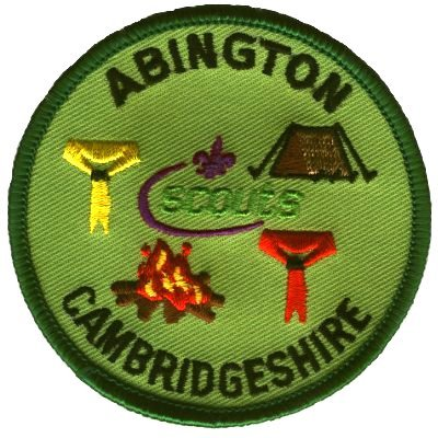 [The Little Abington Campsite badge shows a tent, a campfire, and Scout neckerchiefs]